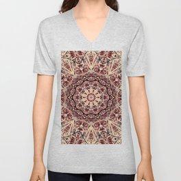 Beige Old Rose Mandala  Psychedelic Pattern Unisex V-Neck