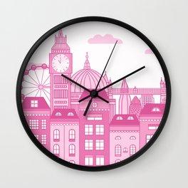 London Skyline Pink Wall Clock