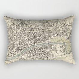 Vintage Map of Glasgow Scotland (1872) Rectangular Pillow