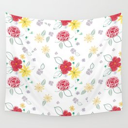 Red and Yellow Floral Wall Tapestry