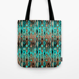 Retro Bohemian Gypsy Beaded Dangles // Horizontal Gradient Chocolate Brown, Turquoise, Teal Tote Bag