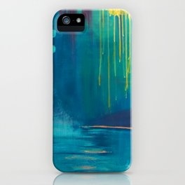 Abstract Water Painting of Dripping Sunshine and Blue Lagoons iPhone Case