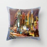 las vegas Throw Pillows featuring Vegas by Robin Curtiss