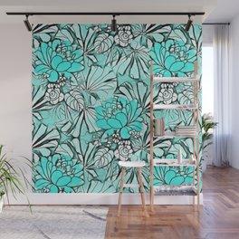 Trendy modern teal watercolor water lilies floral Wall Mural