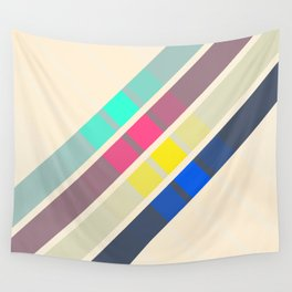 Retro Stripes Squares 01 Wall Tapestry