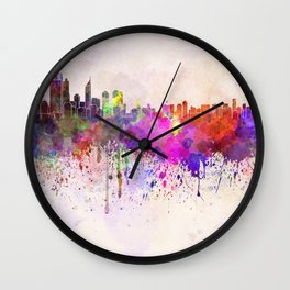 Perth skyline in watercolor background Wall Clock