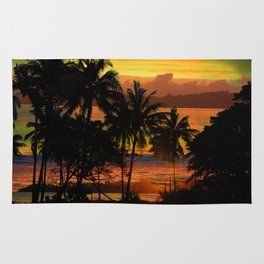 Tropical sunset in green Rug