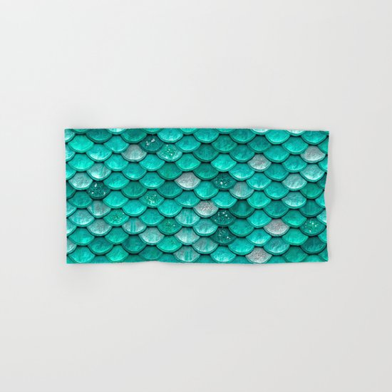 Aqua mermaid glitter scales - Luxury pattern Hand & Bath Towel