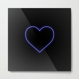 Neon Blue Valentines Love Heart Metal Print