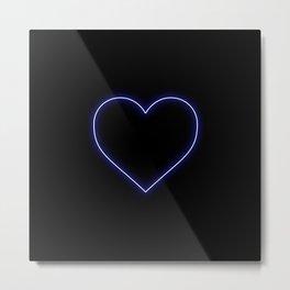 Neon Blue Valentines Love Heart Metal Print