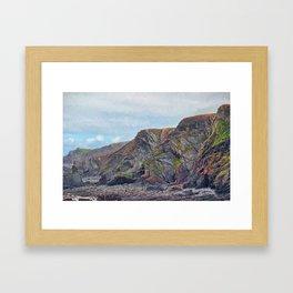 Hartland Quay Cliffs Framed Art Print