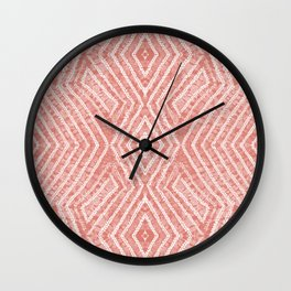 Peach African Dye Resist Fabric Wall Clock