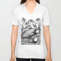 jazzberry V-neck T-shirts featuring The Golden Fish (1) by Judith Clay