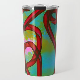 """Galactic Ribbon"" (Cherry/Lime) Digital Painting // Fine Art Print Travel Mug"