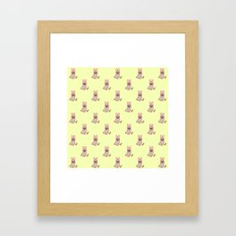 Pug dog in a rabbit costume pattern Framed Art Print