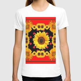 Red Western Yellow Sunflowers Art T-shirt