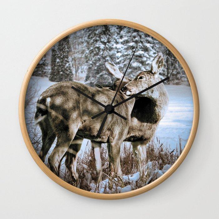 Nuzzling Deer Wall Clock