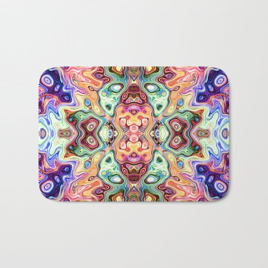 Colorful Mirror Image Abstract Bath Mat