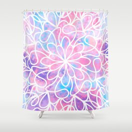 Artsy Abstract Girly Pink Blue Floral Paint Art Shower Curtain