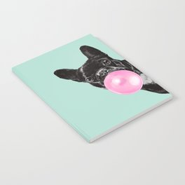 Bubble Gum Sneaky French Bulldog in Green Notebook