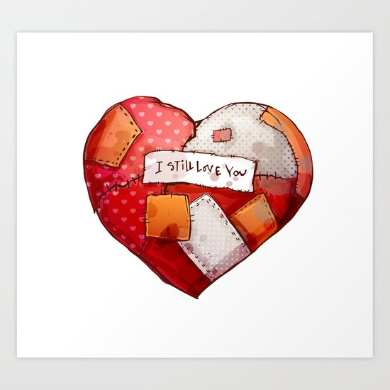 Heart with patches. Valentines day illustration. Art Print