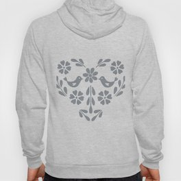 Silver heart shaped floral and birds Hoody