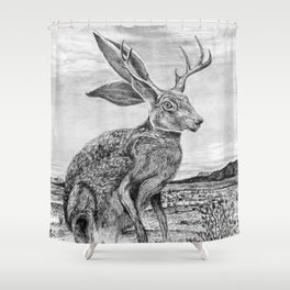 Chisos Mountain Jackalope Shower Curtain