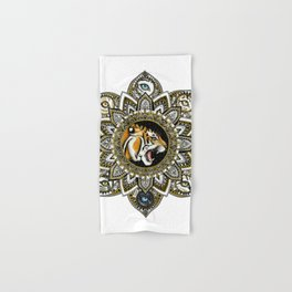 Black and Gold Roaring Tiger Mandala With 8 Cat Eyes Hand & Bath Towel
