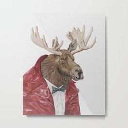 Moose in Maroon Metal Print