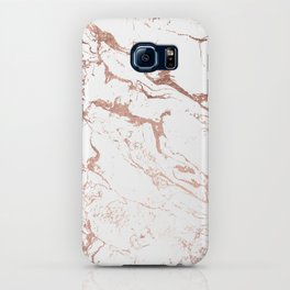 Modern chic faux rose gold white marble pattern iPhone Case