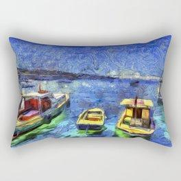 Boats and Sea Impressionist Art Rectangular Pillow