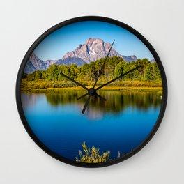 Oxbow Bend - Mt Moran in the Grand Tetons Wall Clock