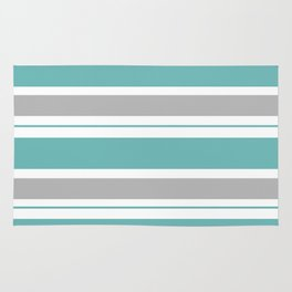 Gray And Blue Striped Rug