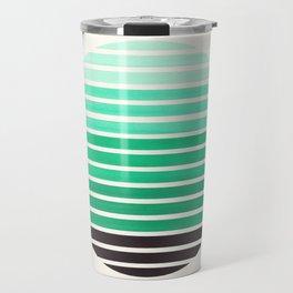 Teal Green Mid Century Modern Minimalist Scandinavian Colorful Stripes Geometric Pattern Round Circl Travel Mug