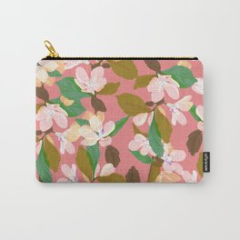 Pastel Pink Floral Pattern With Varigated Green Leaves Carry-All Pouch