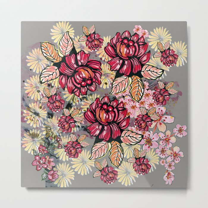 Roses and cherry blossom pattern Metal Print