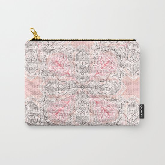 Peaches and Cream Doodle Tile Pattern Carry-All Pouch