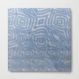Blue and Sliver Spiral Diamond Pattern Metal Print
