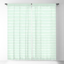 Pastel Mint and White Spring Stripes Blackout Curtain