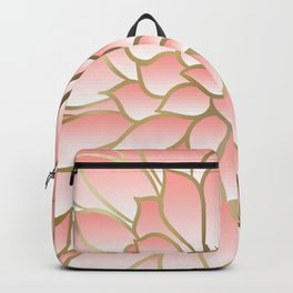 Festive, Floral Prints, Pink and Gold Backpack