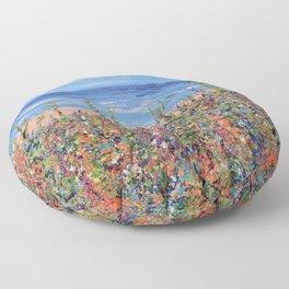Summer Beach, Impressionism Seascape Floor Pillow