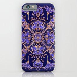 Lotus Mandala - Blue and Gold iPhone Case