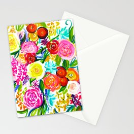 Bright Colorful Floral painting Stationery Cards