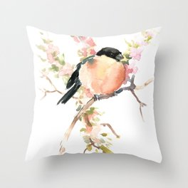 Bullfinch and Spring, Peach colored Floral bird art, spring soft colors Throw Pillow