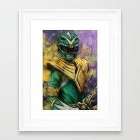 power ranger Framed Art Prints featuring Green Mighty Morphin Power Ranger by SachsIllustration