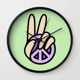CND Peace symbol Hand V Sign Wall Clock