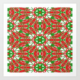 Red, Green and White Kaleidoscope 3376 Art Print