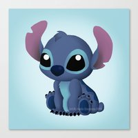 chibi Canvas Prints featuring Chibi Stitch by Katie Simpson a.k.a. Redhead-K