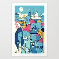 zissou Art Prints featuring The Life Acquatic with Steve Zissou by Ale Giorgini