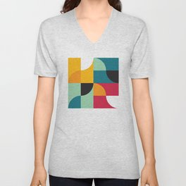 Geometric Pattern #31 (yellow red green curves) Unisex V-Neck